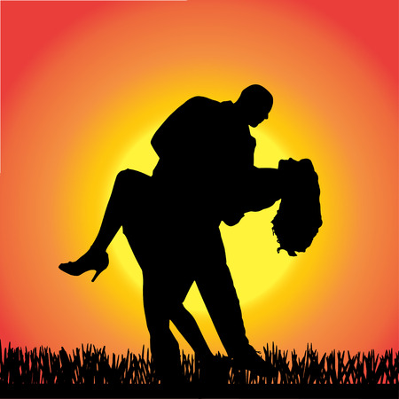 romantic sexy couple: silhouette of people dancing on a orange background.