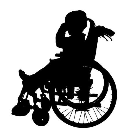 Siluetas del vector de la muchacha en una silla de ruedas sobre un fondo blanco.