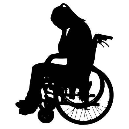 wheelchair: Vector silhouettes of woman in a wheelchair on a white background.