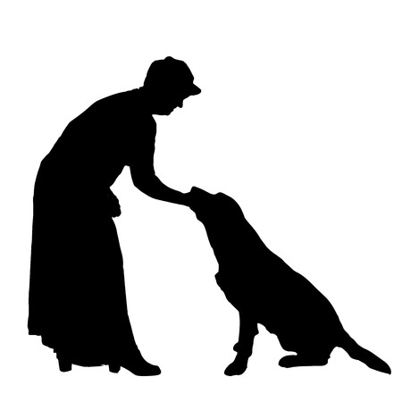 Vector silhouette of people with dog on a white background.  Vector