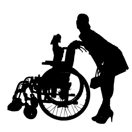 dog wheelchair: Vector silhouettes of dog in a wheelchair on a white background.