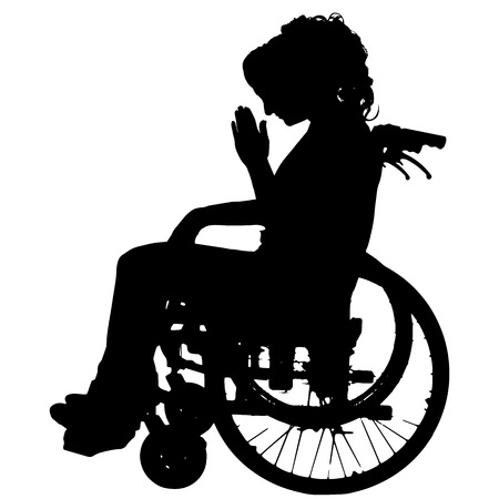 desperation: Vector silhouettes of woman in a wheelchair on a white background.