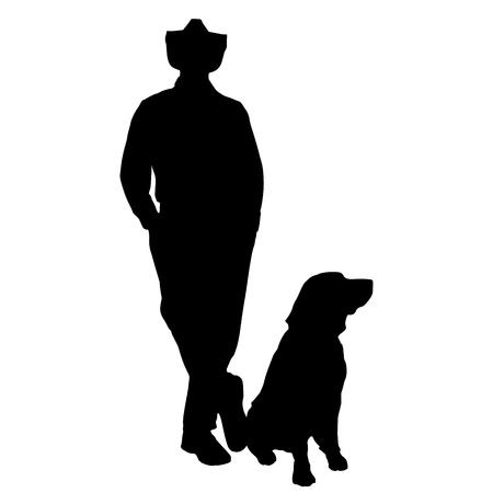 black labrador: Vector silhouette of people with dog on a white background.