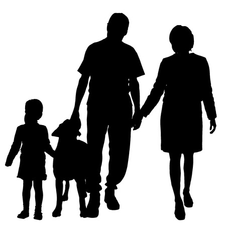 game dog: Vector silhouette of family with dog on a white background.