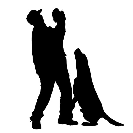 silhouette of people with dog on a white background.  Vector