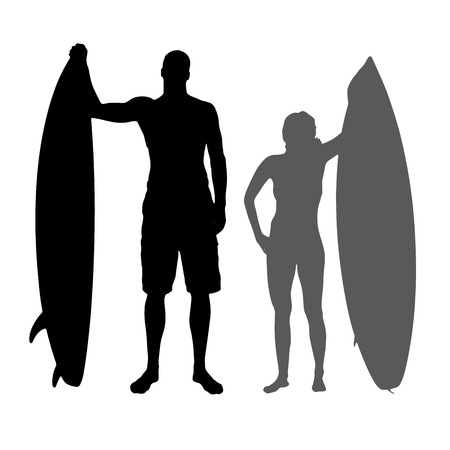 surfers: silhouette of a people who surfs.