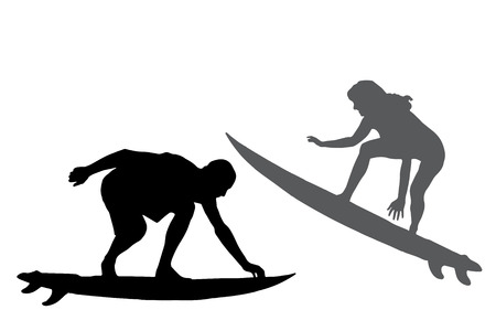 silhouette of a people who surfs. Vector