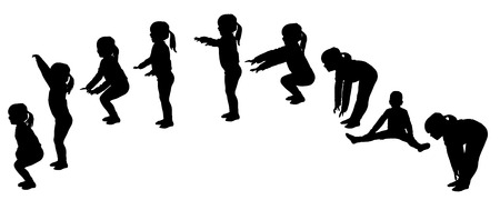 silhouette of little girls who practice.