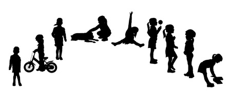 action girl: silhouette of a girl on a white background. Illustration