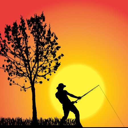 fisher man: silhouette of a man who fishes at sunset. Illustration