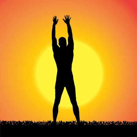 yoga outside: silhouette of a man who practices at sunset.