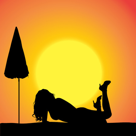 sexy umbrella: silhouette of a sexy woman on the beach.