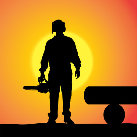 woodsman: silhouette of a man working with tools at sunset.
