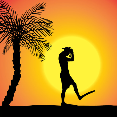 silhouette of a divers at sunset. Stock Vector - 27986089