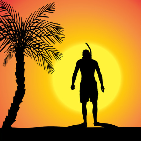 silhouette of a divers at sunset. Vector