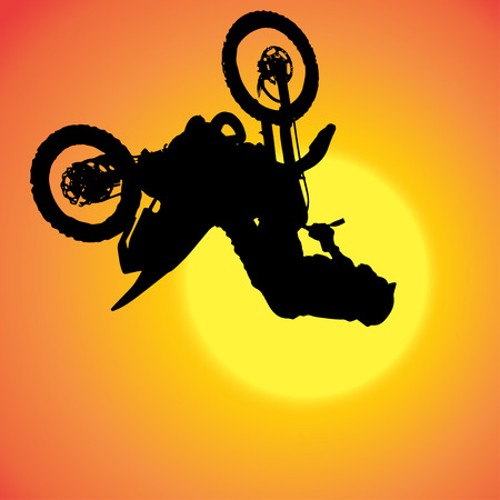 fmx: silhouette of extreme jumps on a motorbike.
