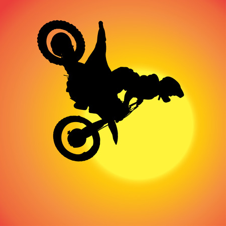 silhouette of extreme jumps on a motorbike. Stock Vector - 27986099