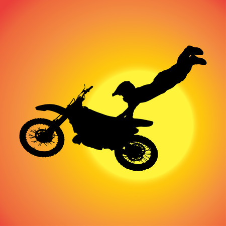 silhouette of extreme jumps on a motorbike. Stock Vector - 27986102