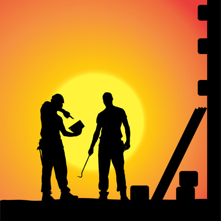 silhouette of a man working with tools at sunset. Vector