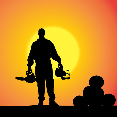 silhouette of a man working with tools at sunset. Zdjęcie Seryjne - 27986519