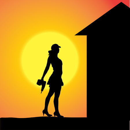 silhouette of a woman working with tools at sunset. Vector