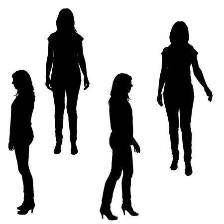 Vector a silhueta de uma mulher em um fundo branco. Ilustração