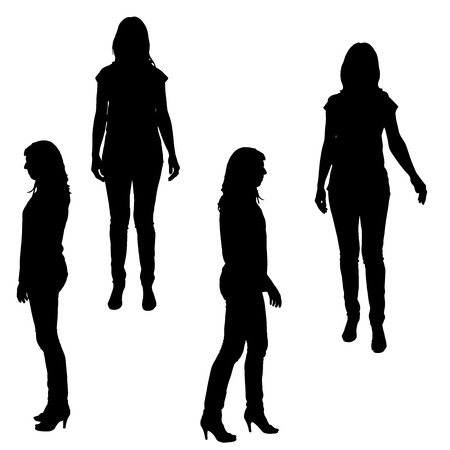 slim women: Vector silhouette of a woman on a white background.