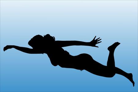 Vector Silhouette der Frau, die auf einem weißen Hintergrund zu schwimmen.