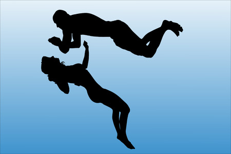 Vector silhouette of people who swim on a white background. Vector