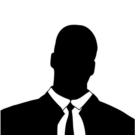 anonym: Vector silhouette of a businessmans head on a white background. Illustration