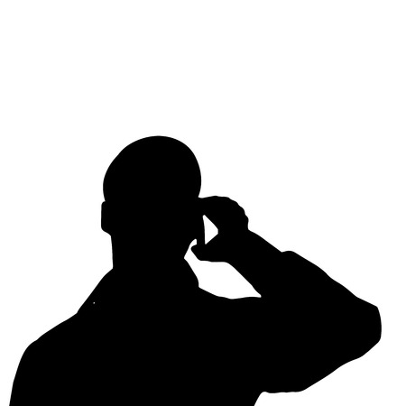 head phones: Vector silhouette of a mans head on a white background. Illustration