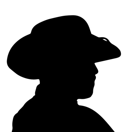 Vector silhouette of a mans head on a white background. Illustration