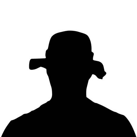 anonym: Vector silhouette of a mans head on a white background. Illustration