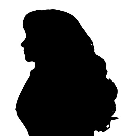 woman profile: Vector silhouette of a woman on a white background.