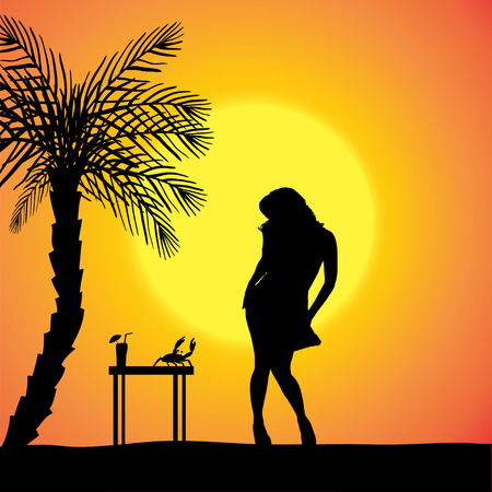 silhouette of a sexy woman who dancing on the beach. Vector