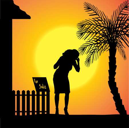 silhouette of woman who are in front of house. Vector