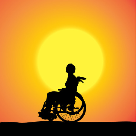 silhouettes of woman in a wheelchair at sunset.  Vector