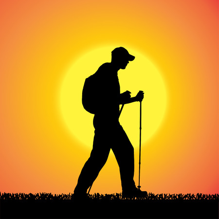 silhouette of man with Nordic walking. Vector