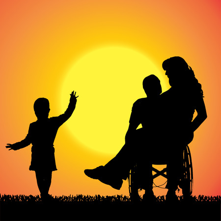 silhouette of a family that is out at sunset.  Vector
