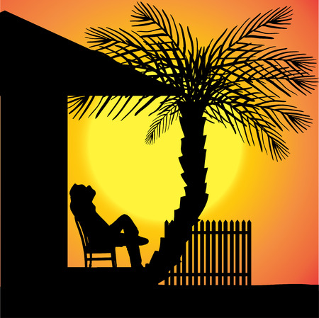 silhouette of a man in front of the house. Vector