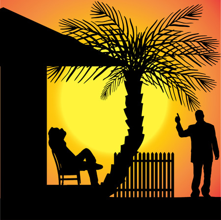 silhouette of people who are in front of house. Vector