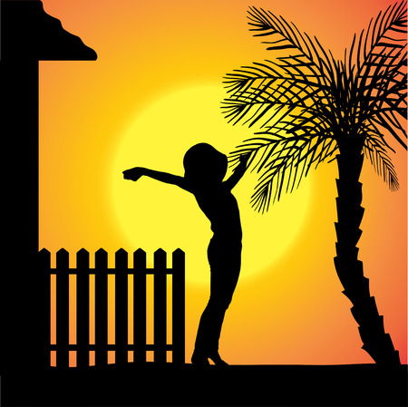 silhouette of a woman who stands in front of the house. Vector