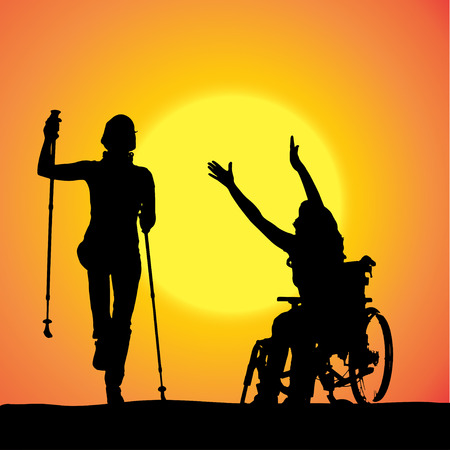 silhouette of woman with Nordic walking. Vector