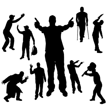 Vector silhouette of people on a white background. Illustration