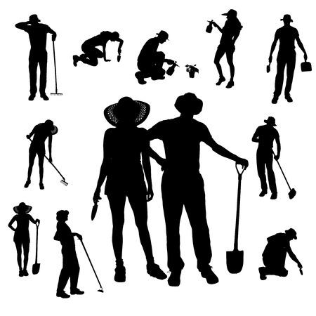 rake: Vector silhouette of a gardener on white background.  Illustration