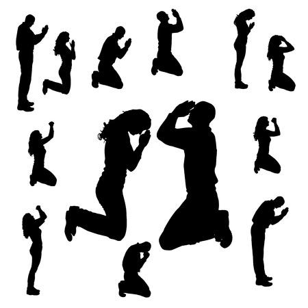 Vector silhouet van mensen die op een witte achtergrond te bidden.