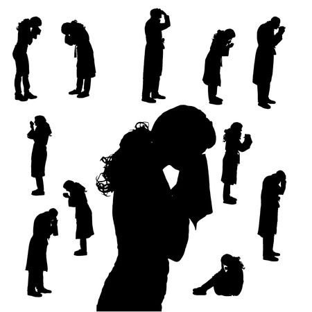 woman bathrobe: Vector silhouette of people who are cold on a white background.