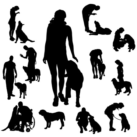 dog wheelchair: Vector silhouette of people with dog on a white background.