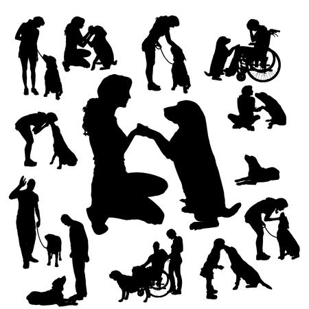 labrador retriever: Vector silhouette of people with dog on a white background.