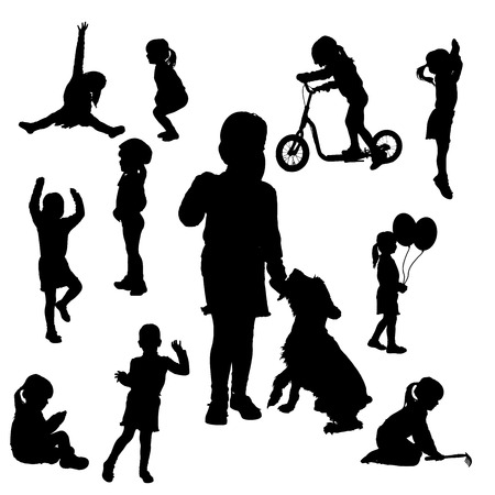 Vector silhouette of girl on a white background. Vector